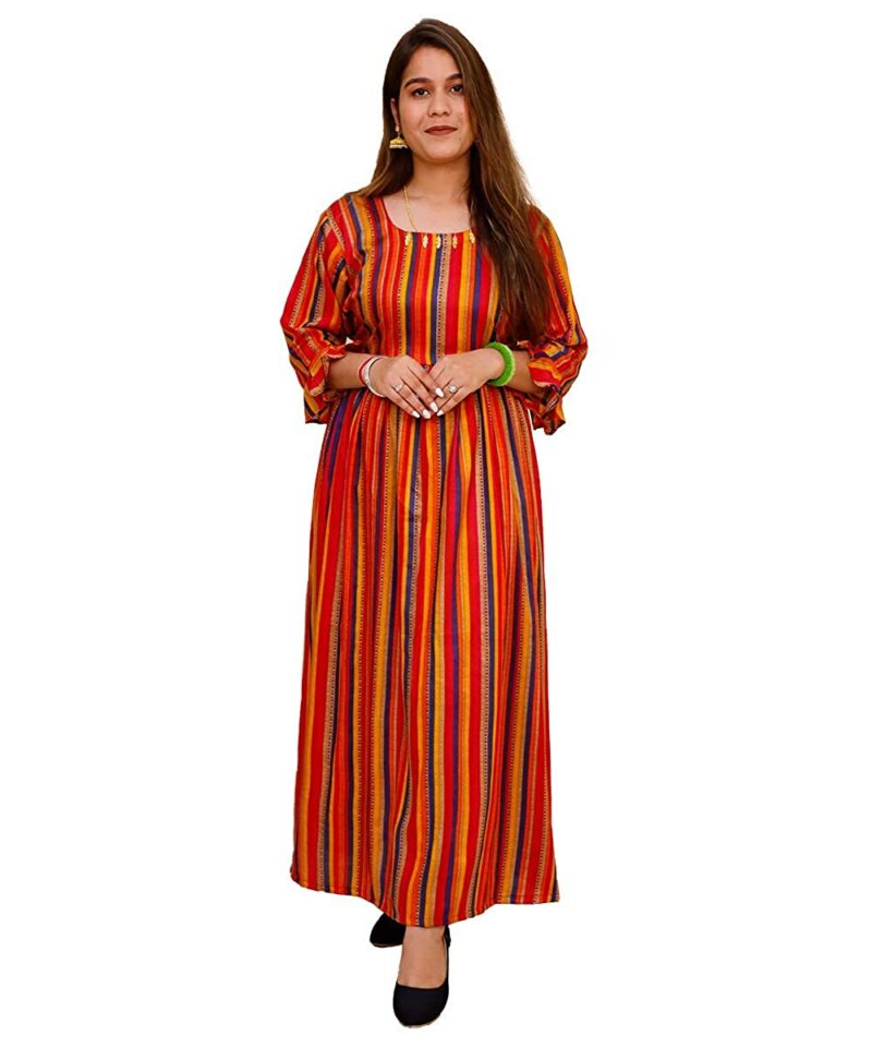 Women Rayon Striped Printed Gown