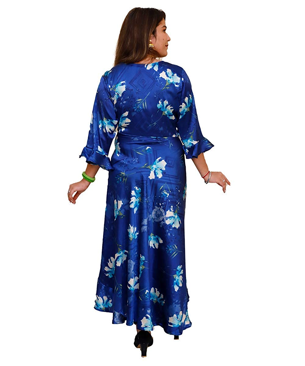 Rayon Flower Printed Blue Gown