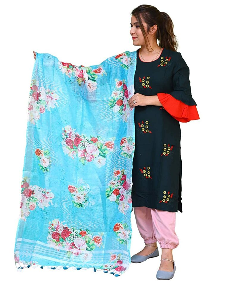 Digital Floral Printed Light Sky Blue Linen Dupatta