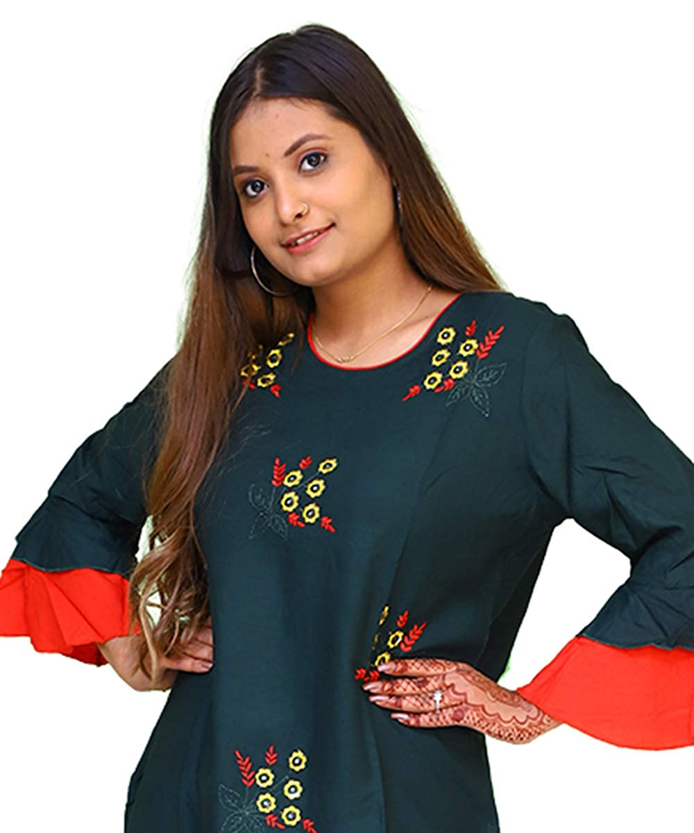 Printed Rayon Green Vogue Women's Kurti