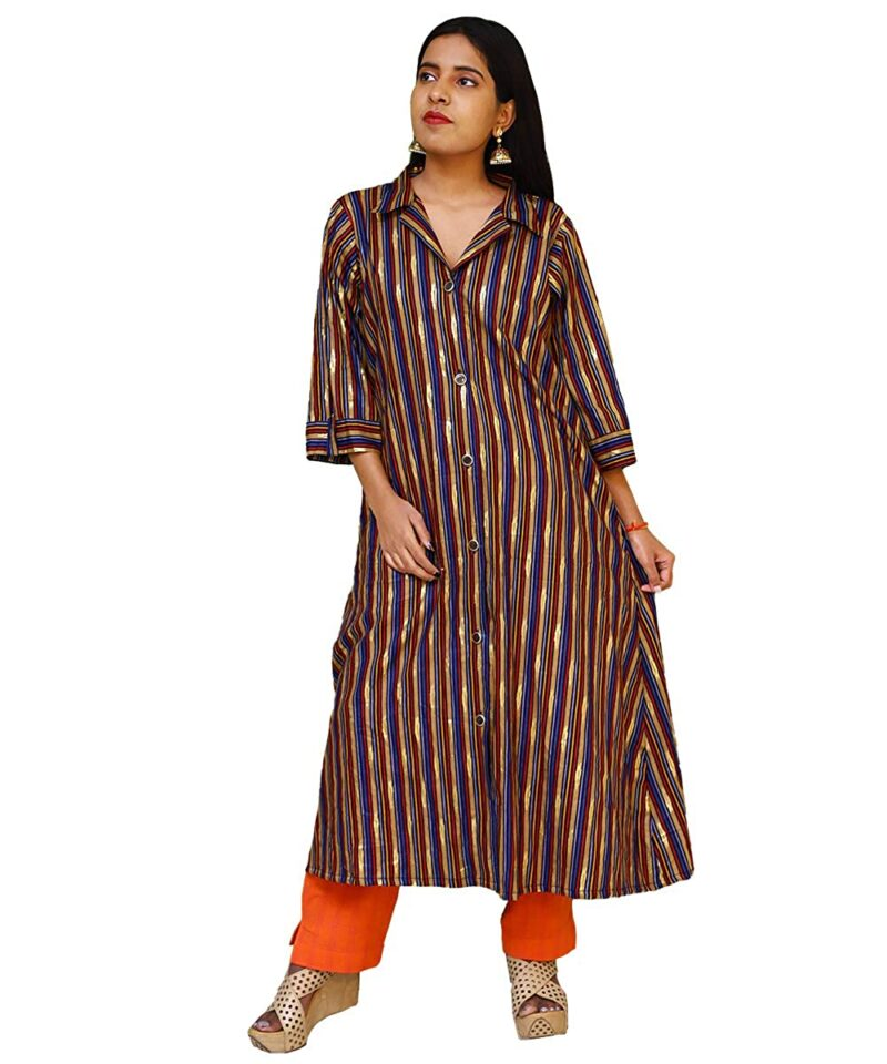 Women's Multicolor Striped Rayon Gown
