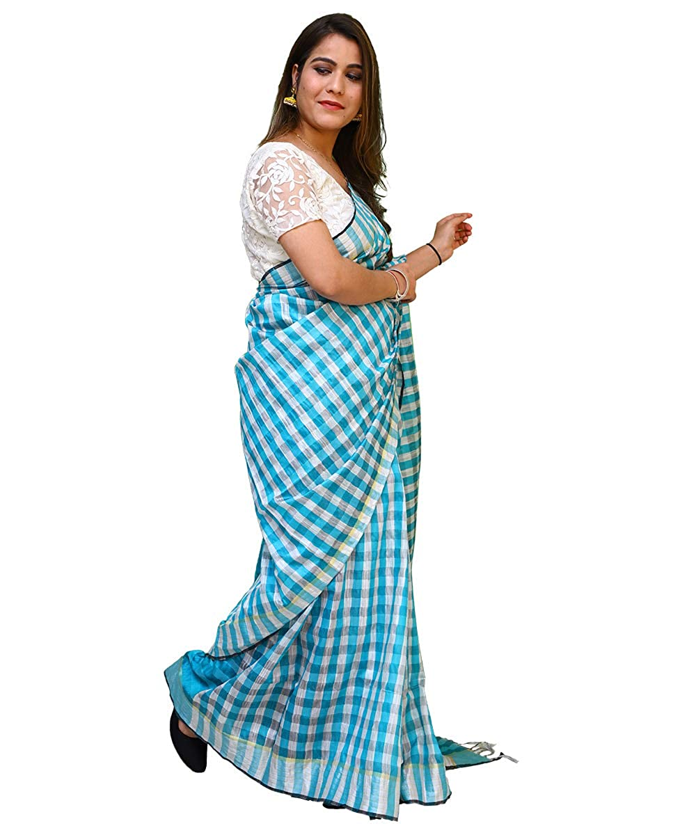 Cotton Checkered Silk Saree With Unstitched Blouse