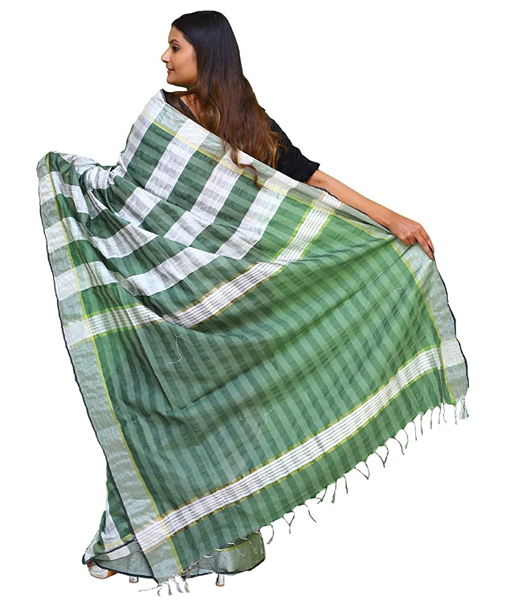 Cotton Silk check Saree With Unstitched Blouse Piece