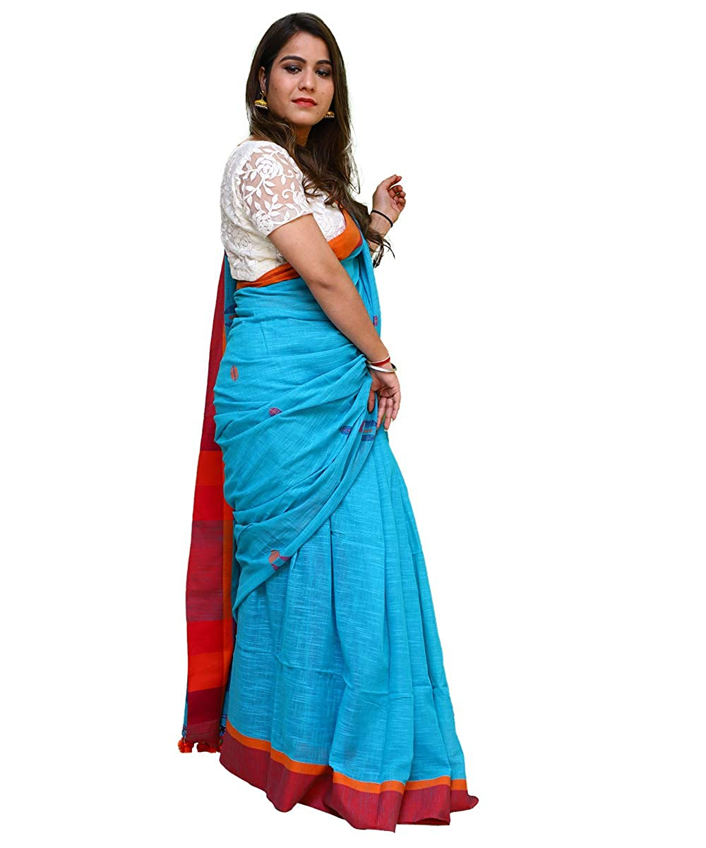 Women's Pure Cotton Soft Khadi Handwoven Blue Saree