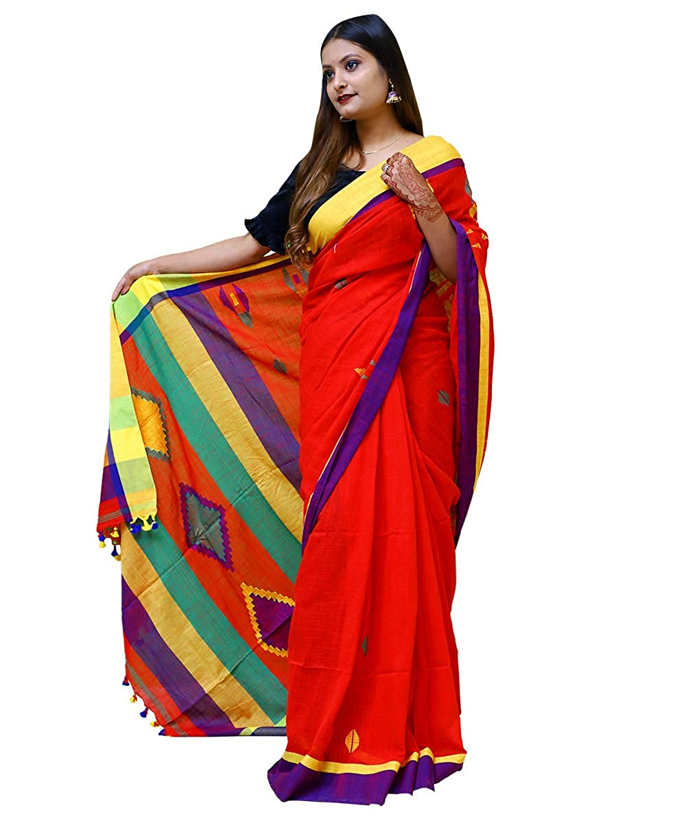 Women's Pure Cotton Soft Khadi Handwoven Red Saree