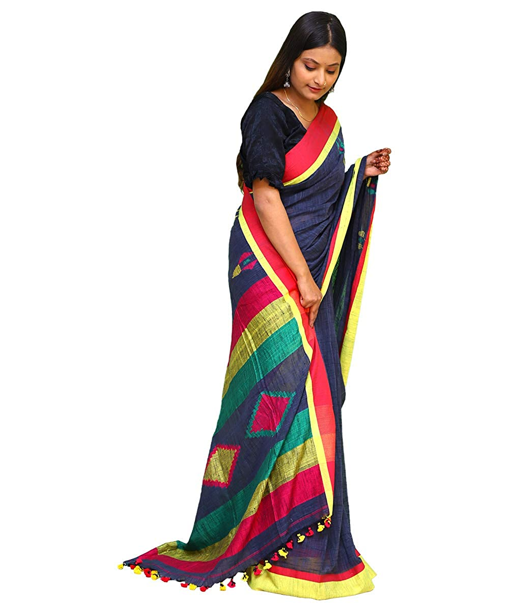 Pure Cotton Soft Khadi Handwoven Blue Saree